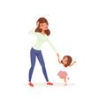 tired mother holding hand her naughty daughter vector image vector image