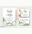 wedding cards floral design invite card design vector image vector image