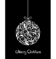 White Christmas ball on black background vector image vector image