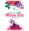 Wine list Hand drawn sketch and watercolor vector image vector image
