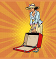 woman with open suitcase vector image vector image