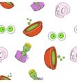 Halloween elements pattern cartoon style vector image