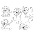 set of cute cartoon lions vector image