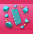 abstract design with smartphone mockup in frame vector image