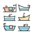 bathroom bathtub simple style color icon set vector image