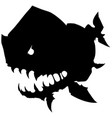 black graphic monster fish with big head vector image vector image