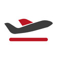 black plane with red wing minimalistic flat vector image vector image