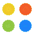 Bright icons water sun fire leaves yellow blue red vector image