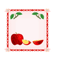 Button apple with leaves vector image vector image