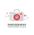 camera logo design with typography vector image