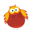 cartoon round owl with red and orange colored vector image vector image