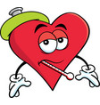 cartoon sick heart with a thermometer vector image vector image