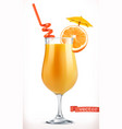 cocktail orange fruit juice 3d icon vector image vector image