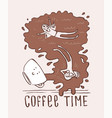 coffee addiction cartoon print two vector image