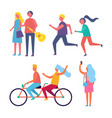 couple riding bike together vector image