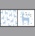cute deer print and seamless pattern set funny vector image vector image