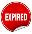 expired round red sticker isolated on white vector image vector image