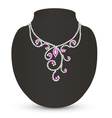 female necklace with pink jewels vector image vector image