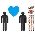 gay lovers icon with valentine bonus vector image vector image