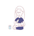 girl and cat grooming for each others vector image vector image