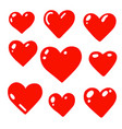 glossy heart set vector image vector image
