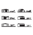 hangars for airplanes and helicopters vector image vector image