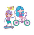 happy childrens day kids riding bike and vector image