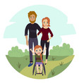 happy family with disabled wheelchair girl vector image vector image