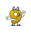 Happy gold number 9 vector image vector image