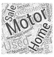 How to Find Used Motor Homes for Sale Word Cloud vector image vector image