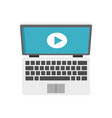 laptop online learning icon flat style vector image vector image