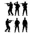 male soldier gesture silhouette vector image vector image