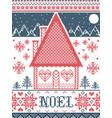 noel christmas pattern with wonderland village vector image vector image