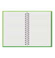 notebook open copybook with empty sheets vector image