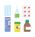 Pills capsules icons flat set vector image
