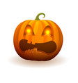 pumpkin with lighted bright eyes and scary face vector image