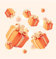 realistic detailed 3d gift boxes seamless pattern vector image
