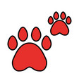 red paws pet on white background vector image