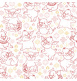 seamless pattern with linear funny pigs vector image vector image