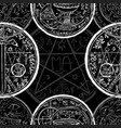 seamless pattern with sword and mystic symbols vector image