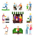 senior people activities set elderly man and vector image vector image