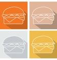 Set hamburger icon symbol with long shadow vector image