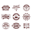 set of isolated logo for meat restaurant vector image