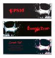 skull artistic splatter banners black sky blue vector image vector image
