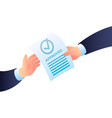 two hand approved paper icon isometric style vector image