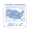 usa travel stamp with silhouette of map of united vector image vector image