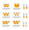 w letter logos set pack modern identity brand vector image vector image