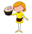 Woman and giant cupcake vector image vector image