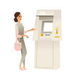 woman at atm bank terminal vector image vector image