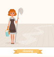 woman standing on shiny floor and holding mop and vector image vector image